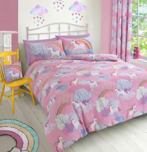 KIDS GIRLS UNICORN PINK LILAC PURPLE BEDDING DUVET QUILT COVER SET OR CURTAINS